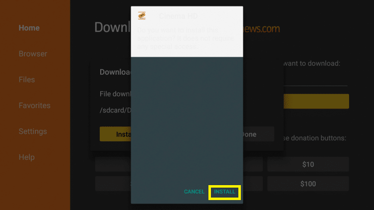 Cinema App on Firestick 2019