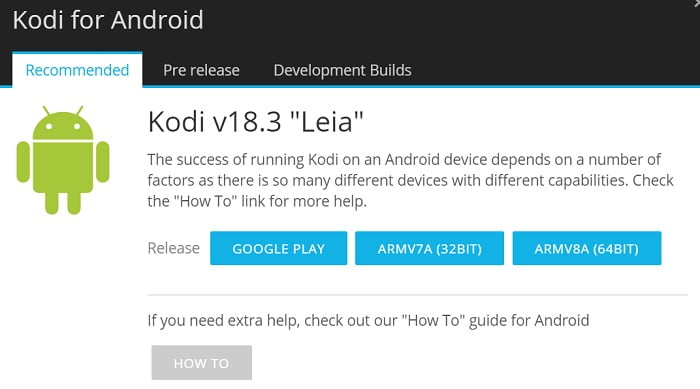 Update Kodi 18.3 on Android