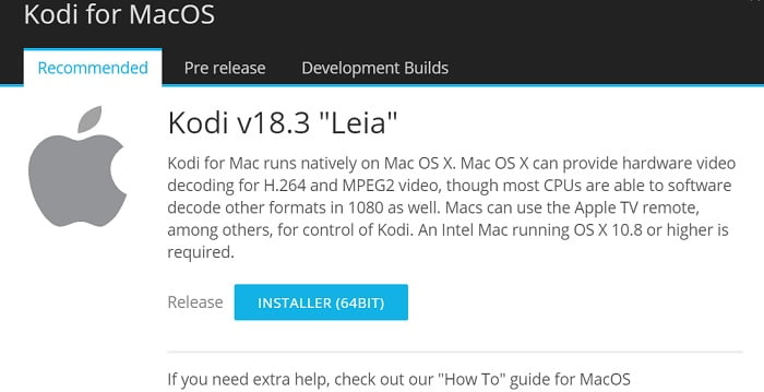 kodi 18.3 on mac