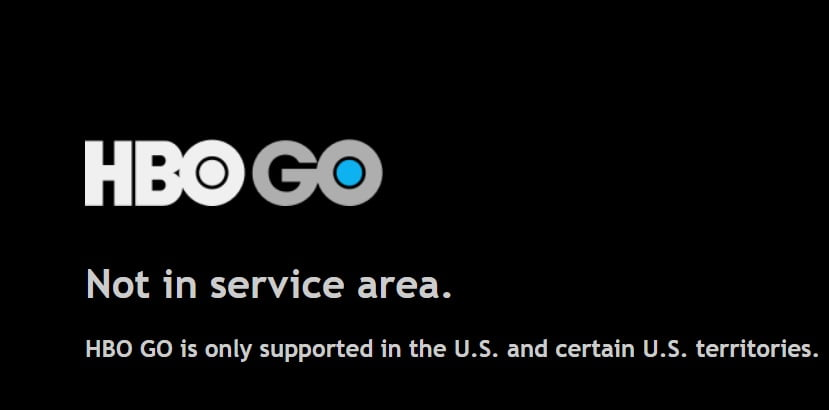HBO Go not in service area