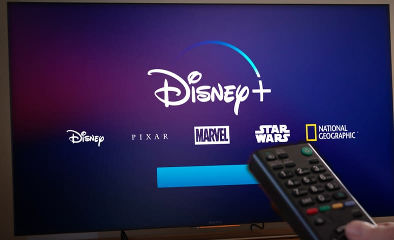 A TV running Disney +