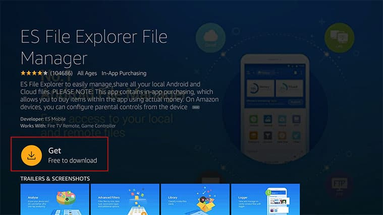 An image featuring how to install the Nora GO app on FireStick through ES File Explorer step2
