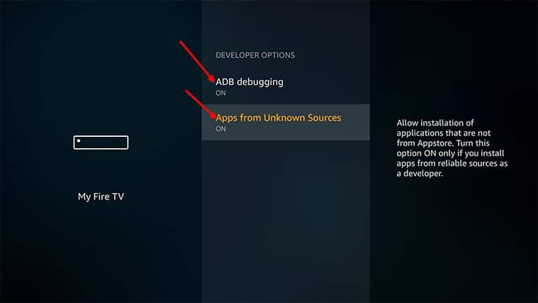 An image featuring how to enable apps from unknown sources on a FireStick device step3