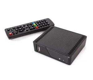 an android box tv with a remote control