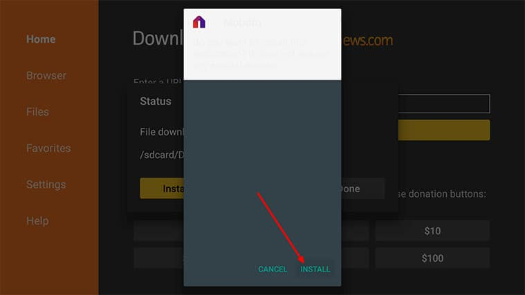 An image featuring how to Install Fire Stick Mobdro APK via Downloader on Your Fire TV Stick step4b