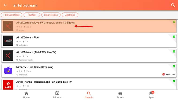 An image featuring how to install Airtel Xstream on your FireStick using Aptoide Store step5