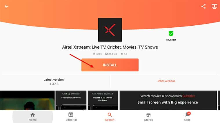 An image featuring how to install Airtel Xstream on your FireStick using Aptoide Store step6