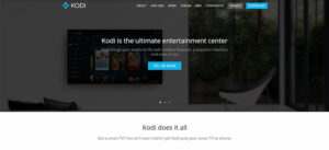 An image featuring the homepage of the Kodi website