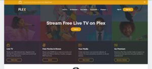An image featuring the homepage of the Plex website