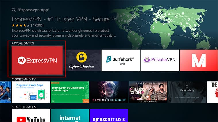 An image featuring how to install ExpressVPN on FireStick from the Amazon App Store method one step two a