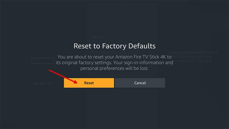 An image featuring how to factory reset your FireStick device step4