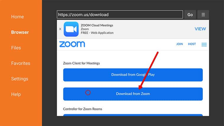 An image featuring how to download Zoom on FireStick through downloader step12