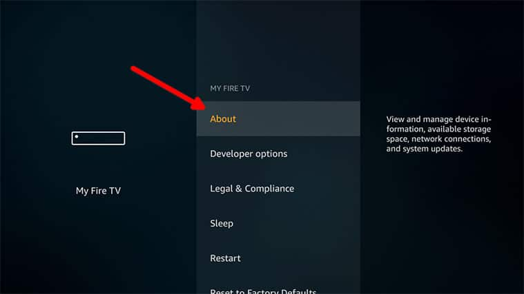 An image featuring how to update the firmware for Amazon FireStick step3