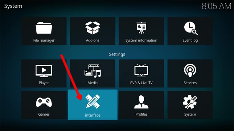 An image featuring how to access the Kodi settings to adjust zoom settings step3