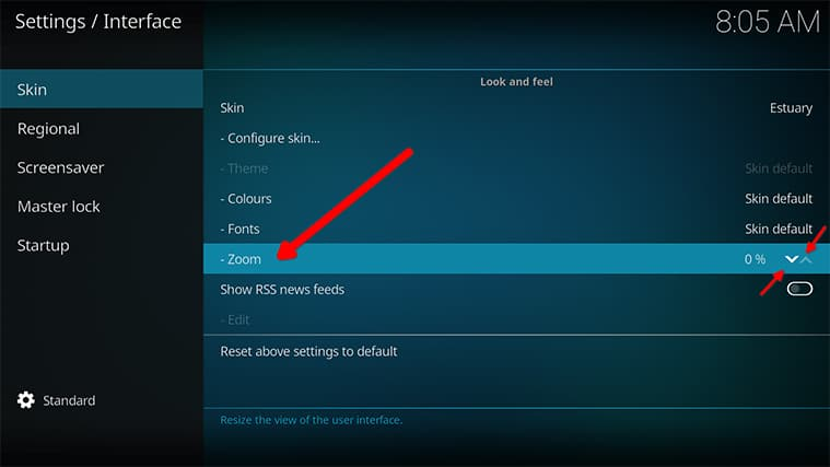 An image featuring how to access the Kodi settings to adjust zoom settings step4
