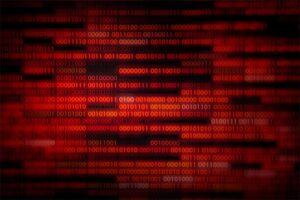 An image featuring red binary code that represents corrupted files concept
