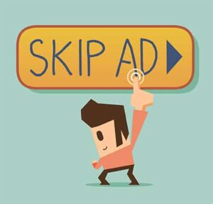An image featuring skip ad button with a drawn character clicking on it