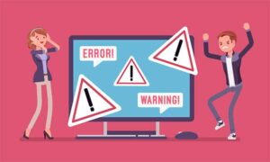 An image featuring a drawing of two people being frustrated with a PC that has errors and warnings in the middle of them