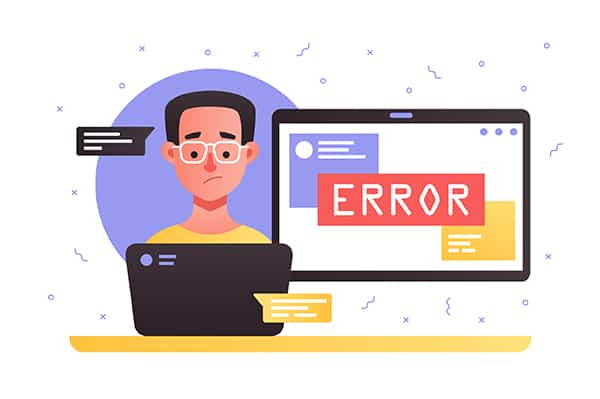 An image featuring a cool drawn person using his laptop with an error pop-up next to him representing error concept