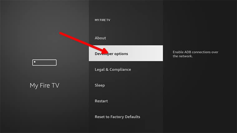An image featuring how to Enable ADB Debugging on the FireStick device step3
