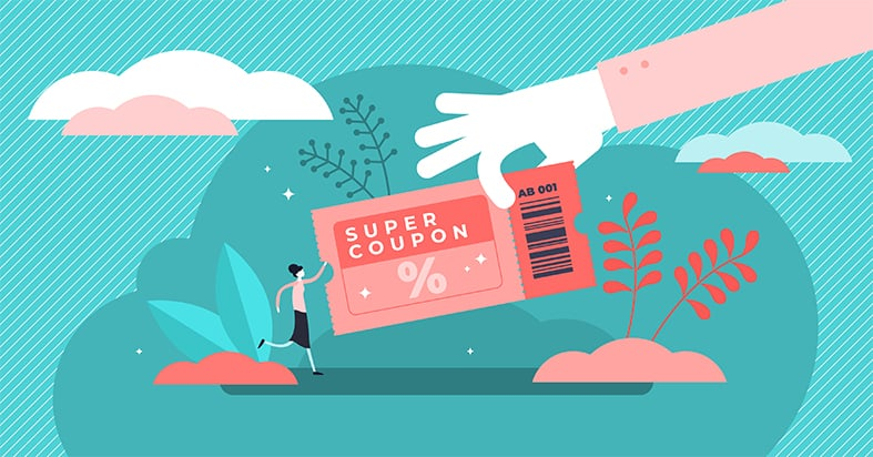 An image featuring a cool drawing of a hand holding a coupon that says super coupon on it and has a small person standing next to it represent FireStick coupon concept