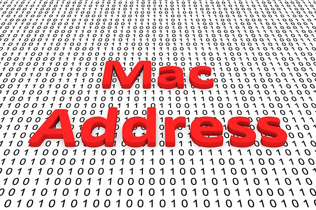 An image featuring a Mac Address red text in the middle with binary code in the background representing a MAC address concept